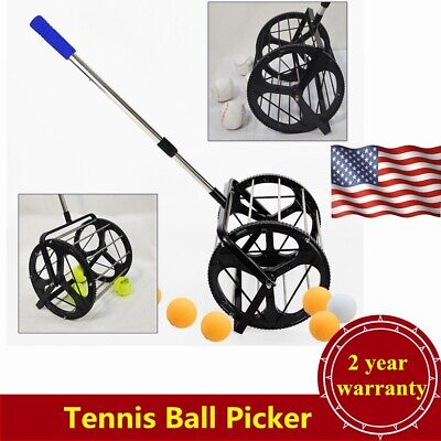 Adjustable Tennis Ball Picker Hopper Retriever Mower Collector Pick Up 55 Balls