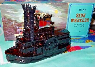 AVON SIDE WHEELER Wild Country After Shave 5 Fl Oz Decanter & Box Only Boat
