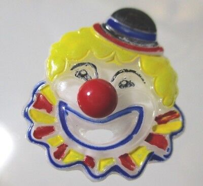 Vintage Lg White Yellow Haired Glass Open Mouthed Clown Button Red Blue Yellow