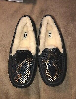 d8a5bec4396 UGG ANSLEY EXOTIC Velvet Lonely Hearts Leather Slippers Size Us 6/uk ...