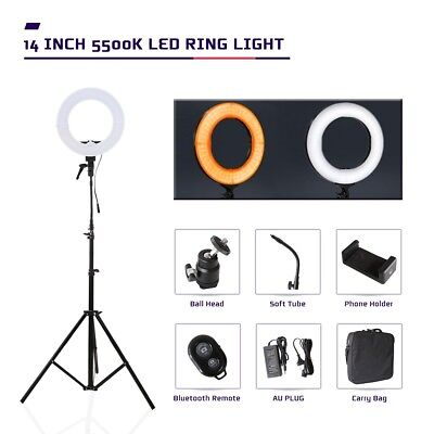 "LED Ring Light 14"" 5500k Dimmable Lighting with Stand for Video Live Make up"