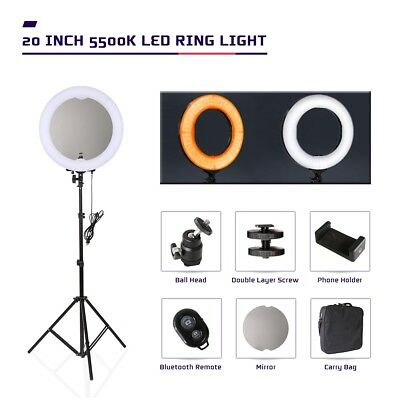 "20"" 5500K Dimmable LED Ring Light with Mirror Stand for Make up Selfie Studio"