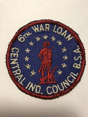 Rare Vintage 1940's BSA 6th War Loan Central Indiana Council Patch Boy Scouts