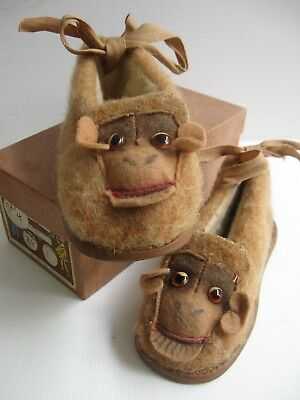 vintage 1930s CHILDRENS MONKEY House SLIPPERS - SHOES Germany BOX