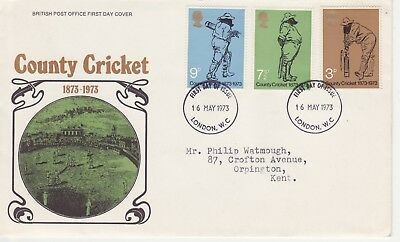 GB Stamps First Day Cover 100 Years of County Cricket, Lords CDS London WC 1973