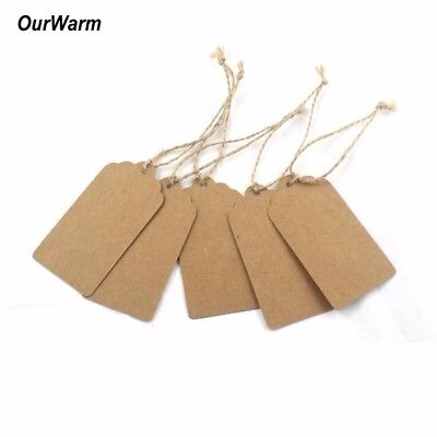10/50PCS Kraft Paper Gift Tags Card Scallop Label Luggage Wedding Blank + String