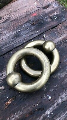 Beautiful Antique Vintage A Pair of Heavy Brass Rings *