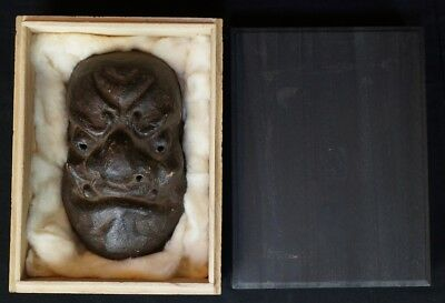Antique Japanese Oni demon mask hand made paper and clay 1800s Edo art Japan