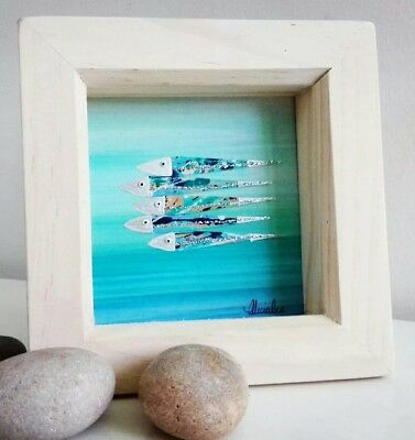 Little Seascape Art Fish Shoal - Abstract Coastal Picture - Unique FRAMED Gift
