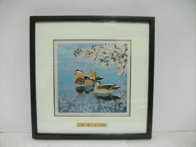 Pure gold, pure silver, metal engraving product. Mandarin duck. Mitsuo K's work