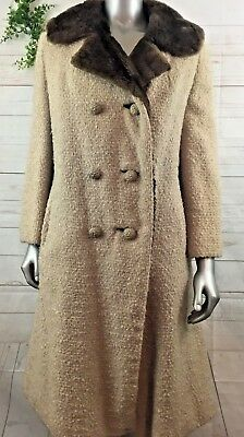 Vintage Real Mink Fur Lined Wool Trench Swing Coat Double Breasted Coat Large