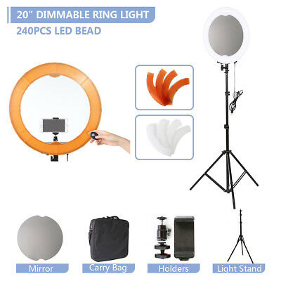 """20"""" LED Ring Dimmable Light with Diffuser Light Stand Diva Selfie Make Up Studio"""