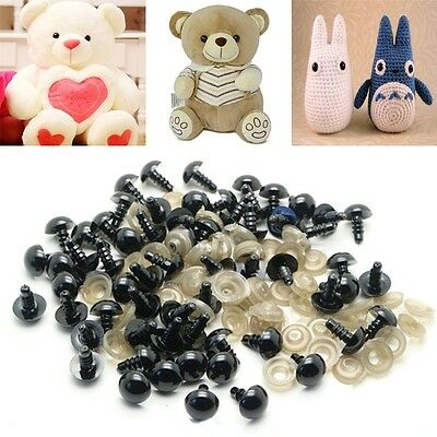 100pcs 6-20mm Black Plastic Safety Eyes Teddy Bear Plush Animals Toys Doll Mode