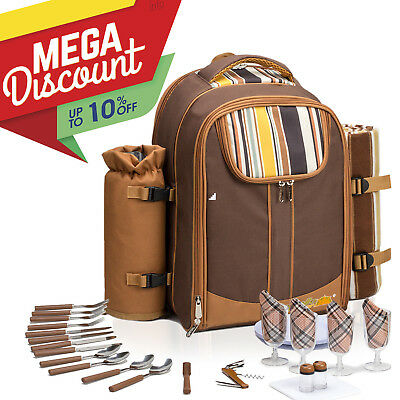 ALLCAMP 4 Person picnic backpack Lunch Bag With Stainless Steel Cutlery(off-15%)