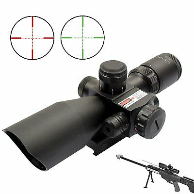 2.5-10x40 Tactical Rifle Scope Red&Green Mil-dot illuminated w/ Red Laser Mount