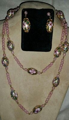 Vintage Chinese CHAMPLEVE CLOISONNE & Pink Quartz Beaded NECKLACE & EARRINGS SET
