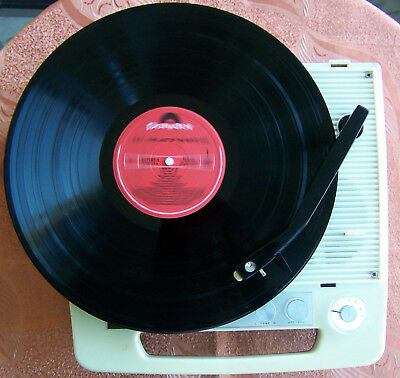 Vintage 1960s Antique Portable Radio with old miniature phonograph Turntable