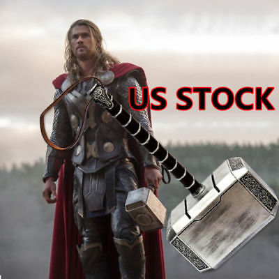 US Ship 1:1 Avengers Thor Mjolnir Resin Hammer+Stand Base Replica Cosplay Prop