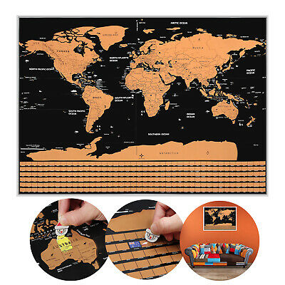 BIG Scratch Off World Map Poster with States + Country Flags 82 x 59CM NEW