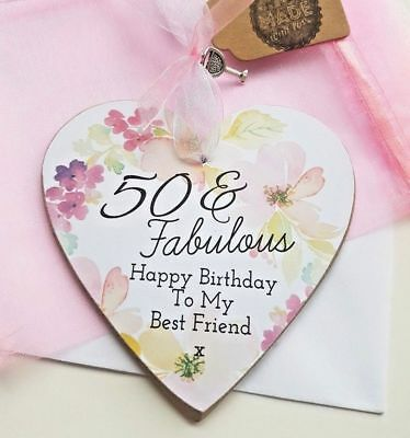 Best Friend Gift 30th 40th 50th Birthday Personalised Heart Plaque Charm Ra1