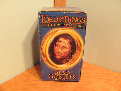 Vintage 2001 Lord of the Rings Glass Goblet with Light Up base/Strider