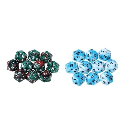 Set of 20 Acrylic Dice D20 Twenty Sided Die for RPG D&D Gaming Accessories