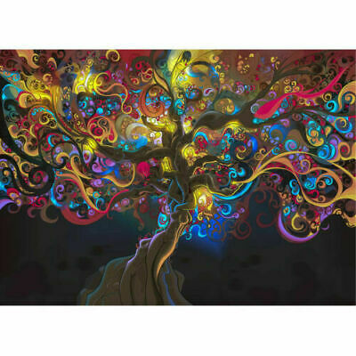 Psychedelic Trippy Tree Abstract Art Silk Fabric Cloth Poster Home Wall Decor