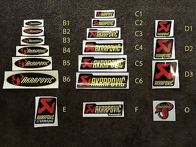 Akrapovic Exhaust heat resistant Sticker Stickers Decal Decals (many!!!)