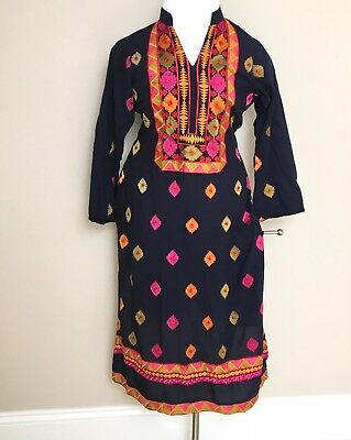 Indian Pakistani designer kameez Kurti stitched new embroidery cotton blue