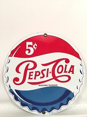 "Pepsi Cola Porcelain Enamel 8"" Advertising Sign Retro Pepsico Design Made In USA"