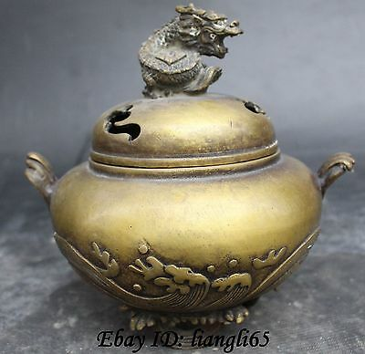 "7"" Marked Chinese Dynasty Pure Bronze 3 Foot Handle Dragon Incense Burner Censer"