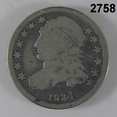 1834 Capped Bust Dime Vg #2758