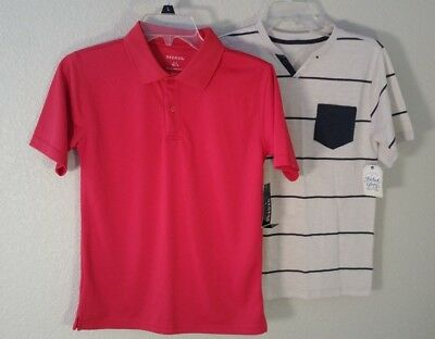 2 NEW! Boys Size L LARGE 10-12 School Shirts - Polo Solid Red & Henley Tan Blue