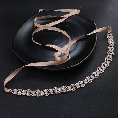 Fashion Satin Wedding Ribbon Belts Rhinestone Bridal Dress Accessory Belly Chain