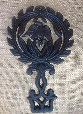 Vintage Eagle on Heart Heavy Old Black Cast Iron Kitchen Trivet Collectible