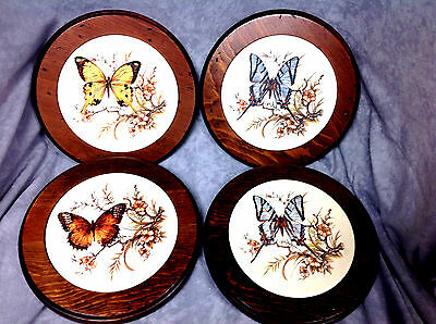 Wooden Trivets  Ceramic Insert with Butterfly Design Set of 4 Free Shipping