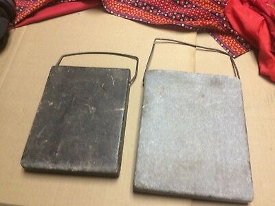 Pair Antique Warming Stones Bed or Buggy Warmer Heavy Soapstone Block