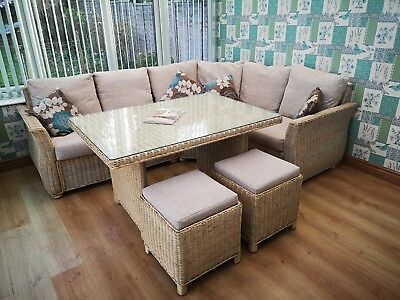 Marvelous Conservatory Corner Sofa Dining Table And Stools Excellent Used Condition Interior Design Ideas Gentotthenellocom
