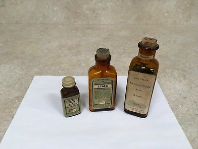 Antique Or Vintage Lilly Medicine Bottles (3) From An Old Pharmacy