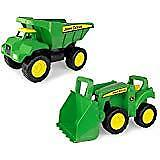 2 Pack Sandbox Vehicle Truck and Tractor Toys Kids Playing Dump Trucks Gift New