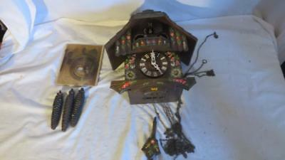 NICE GERMAN BLACK FOREST PAINTED MUSICAL CUCKOO CLOCK W/ DANCERS for restoration