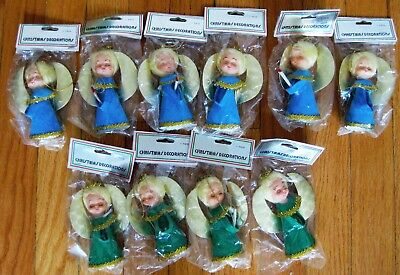 10 vintage Sealed Flocked Christmas Tree Angel Ornaments Blue Green Taiwan