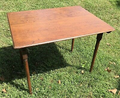 """Antique Wood Folding Sewing Craft Art Table  32""""x24""""x25"""" Vintage Work Table Farm"""