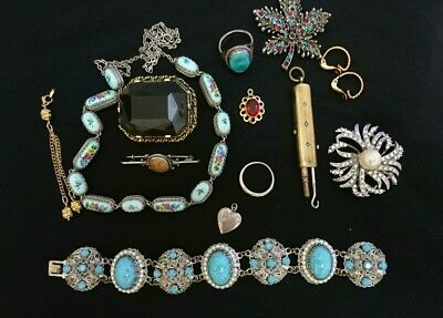 Job Lot Of Antique & Vintage Jewellery Brooches  Bracelet, Chatelaine