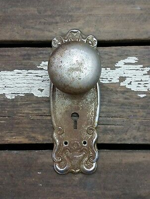 VTG Antique Old Door Knob & Metal FANCY Rustic Shabby Backplate Cover Hardware *