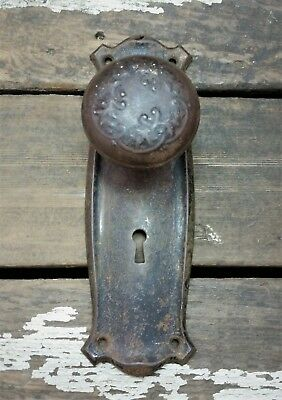 VTG Antique Old Rustic Shabby FANCY Door Knob & Metal 1900s Backplate Cover