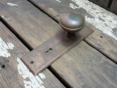 VTG Antique Old Shabby Rustic Door Knob & Metal Backplate Hardware Cover--