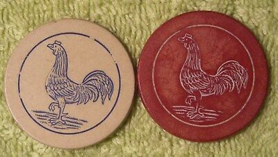 2 antique clay poker chips engrave rooster