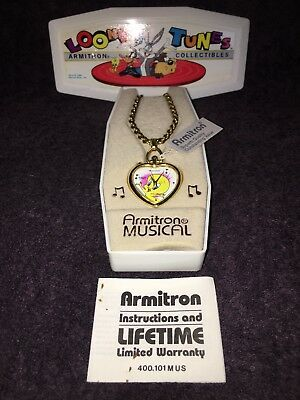 Vintage Armitron Musical Tweety Bird Watch Necklace Heart With Case & Manual R1