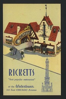 Old Vintage Ricketts Restaurant East Chicago IL Avenue at Watertower Postcard